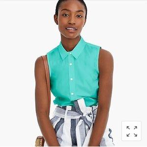 NWT J Crew Slim Sleeveless Stretch Cotton Shirt